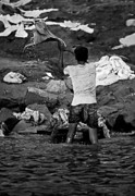 Ganges Art - Dhobi Wallah bw by Steve Harrington