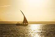 Photography Of Women Framed Prints - Dhow Sailing Along The Coast Of Matemo Framed Print by Jad Davenport