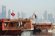 Qatar Framed Prints - Dhows and Doha skyline Framed Print by Paul Cowan