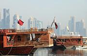 Dhows And Doha Skyline Print by Paul Cowan