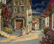 Village Painting Framed Prints - Di Notte Al Mare Framed Print by Guido Borelli
