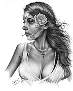 White Drawings - Dia De Los Muertos 1 by Pete Tapang