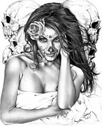 Pencil Portrait Prints - Dia De Los Muertos 2 Print by Pete Tapang