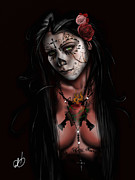 Girl Drawings - Dia De Los Muertos 3 by Pete Tapang