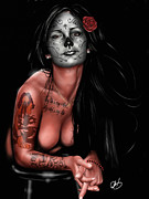 Pin Up Girl Paintings - Dia de los muertos 4 by Pete Tapang
