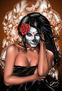 Woman Painting Prints - Dia de los Muertos Remix Print by Pete Tapang