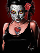 Pete Tapang Drawings Metal Prints - Dia de los muertos The Vapors Metal Print by Pete Tapang
