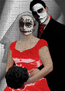 Hallow Mixed Media - Dia de Los Muertos Wedding by Lisa McKinney