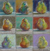 Pear Pastels Prints - Diagonal Pears Print by Bonnie Goedecke