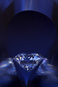 Single Jewelry Metal Prints - Diamond in deep-blue light Metal Print by Atiketta Sangasaeng