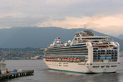 Sea Vessels Framed Prints - Diamond Princess leaving Vancouver British Columbia Canada Framed Print by Christine Till