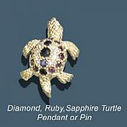 Beach Jewelry Originals - Diamond Ruby Sapphire Turtle by Vargas Jewelry