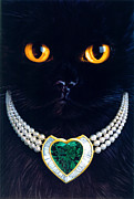 Andrew Farley Art - Diamonds Are A Cats Best Friend by Andrew Farley