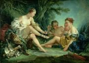 Puddle Painting Prints - Diana after the Hunt Print by Francois Boucher