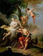 Putti Paintings - Diana and Endymion by Frans Christoph Janneck