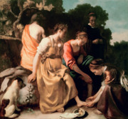 Goddess Mythology Paintings - Diana and her Companions by Jan Vermeer
