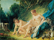 Fine Art  Of Women Painting Posters - Diana Bathing Poster by Francois Boucher