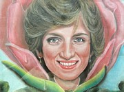 Princess Pastels Posters - Diana in a rose Poster by Biren