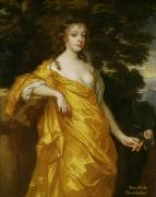 Gown Painting Framed Prints - Diana Kirke-Later Countess of Oxford Framed Print by Sir Peter Lely