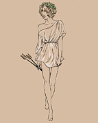 Toga Drawings Prints - Diana Print by Lauren Busiere
