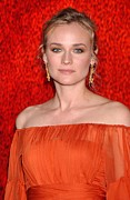 Orange Dress Prints - Diane Kruger Wearing A J. Mendel Dress Print by Everett