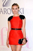 Red Dress Posters - Diane Kruger Wearing A Jason Wu Dress Poster by Everett