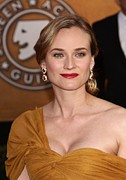 Gold Earrings Posters - Diane Kruger Wearing Harry Winston Poster by Everett
