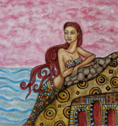 Modern Folk Art Paintings - Diantha by Rain Ririn