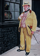 Old England Pastels Prints - Dickens character outside old curiosity shop Print by John  Palmer