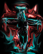 Crucifix Art Painting Metal Prints - DIE 4 your SINS Metal Print by Tbone Oliver