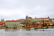 Urban Winter Scenes Prints - Die Moldau - Prague Print by Christine Till