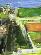 Homage Mixed Media Posters - Diebenkorn Homage Poster by Russell Pierce