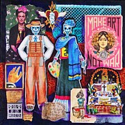 Dia De Los Muertos Framed Prints - Diego and Frida Framed Print by Candy Mayer