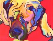 Acrylic Dog Paintings - Diesel   by Pat Saunders-White            