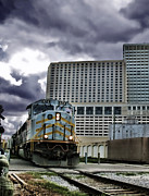 Power Prints - Diesel Electric Freight Locomotive in a City Print by Olivier Le Queinec