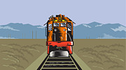 Rail Digital Art - Diesel Train Front Rear Woodcut Retro by Aloysius Patrimonio