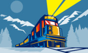 Blue Posters - Diesel train winter Poster by Aloysius Patrimonio