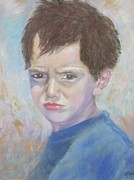 Young Man Pastels Posters - Difference of opinion Poster by Gina Ward