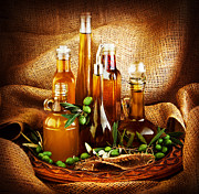 Olives Art - Different salad dressings by Anna Omelchenko