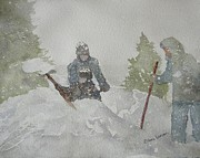 Snow Drifts Paintings - Digging Out by Eldora  Larson