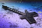 Color Digital Art Digital Art Metal Prints - Digital-Art E-Guitar II Metal Print by Melanie Viola