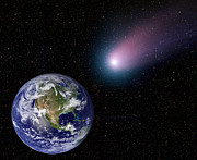 Digitally Generated Image Photos - Digital Composite Of A Comet Heading by Stocktrek Images
