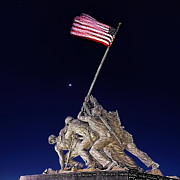 Monument Digital Art Prints - Digital Drawing - Iwo Jima Memorial at Dusk Print by Metro DC Photography