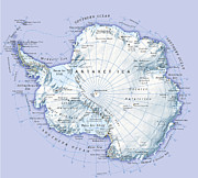 Cartography Digital Art - Digital Illustration Of Antarctica by Dorling Kindersley