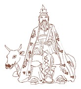 One Cow Posters - Digital Illustration Of Chinese Philosopher Confucius Sitting On Cow Poster by Dorling Kindersley