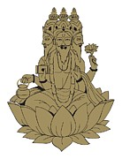 Human Head Art - Digital Illustration Of Hindu God Brahma Depicted With Three Of His Four Heads, Sitting On Lotus Flo by Dorling Kindersley