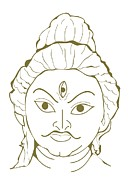 Human Head Art - Digital Illustration Of Three-eyed Hindu God, Shiva by Dorling Kindersley
