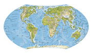 Cartography Digital Art - Digital Illustration Of World Map And Oceans by Dorling Kindersley