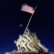 Memorial Posters - Digital Lightening - Iwo Jima Memorial Poster by Metro DC Photography
