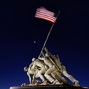 Flag Digital Art Posters - Digital Liquid - Iwo Jima Memorial at Dusk Poster by Metro DC Photography
